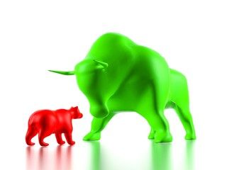 Green bull beats against red bear