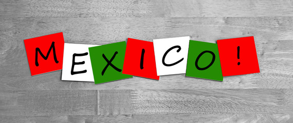 Mexico, in Mexican national flag color, sign for countries.