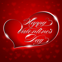 "Red Greeting Card ""Happy Valentine's Day"", vector"