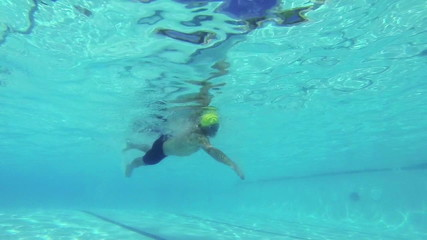 Slow Motion Man Swimming Underwater In Pool