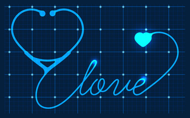 stethoscope heart with love, vector