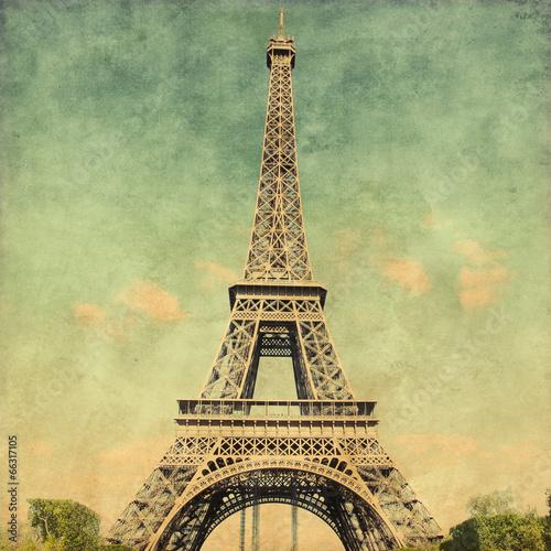 Fototapeta Grunge image of Eiffel Tower.