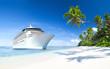 Leinwandbild Motiv Cruise ship with Palm Tree