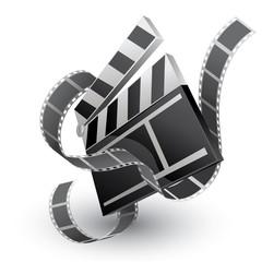 movie clapper with film strip