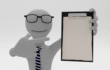 business man pointing on document