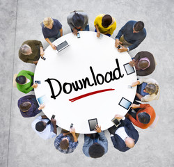 People Social Networking and Downloading Concept