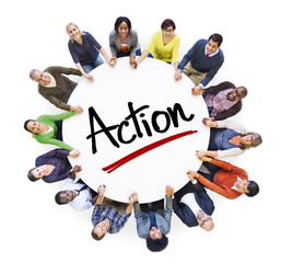 Multi-Ethnic Group of People and Action Concepts