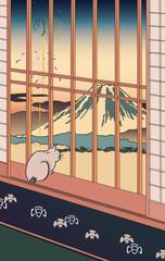 歌川広重 浅草田甫酉の町詣とする賀てふのイメージイラスト