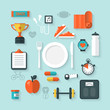 Flat icons for Fitness and Healthy lifestyle