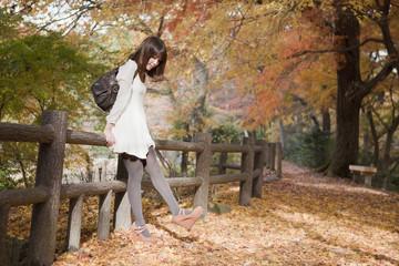 秋の紅葉した公園で立っているバッグを持った女性
