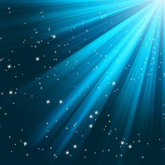 Blue luminous rays. EPS 8