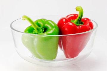 Sweet pepper in glass bowl