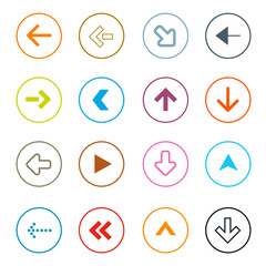 Outline Arrows Set in Circles Vector Illustration