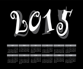 Year 2015 Two Tone Color Calendar Vector