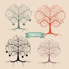 Vintage Trees Set Vector Illustration
