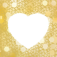 Golden Heart bokeh frame with copy space. EPS 8