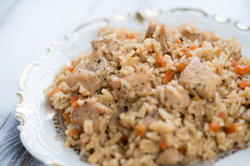 Close-up of chicken pilaf in a glass plate, studio shot