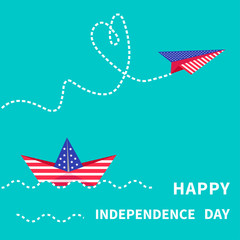 Happy independence day. 4th of July. Paper boat and paperplane.