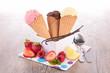 ice cream scoop in cones