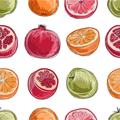 Set of fruits, sketch for your design
