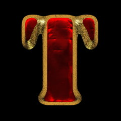red velvet letter with gold on black background