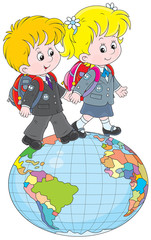 Schoolgirl and schoolboy walking on a globe