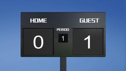 guest win soccer match scoreboard