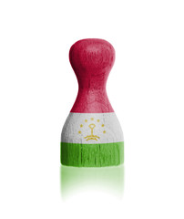Wooden pawn with a flag painting