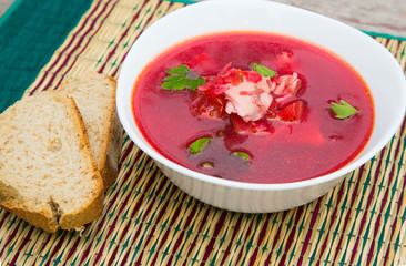 A plate of Russian red soup - borsch