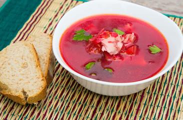 A plate of Russian red soup - borsch