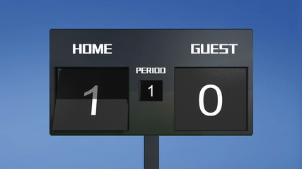 soccer match scoreboard home win