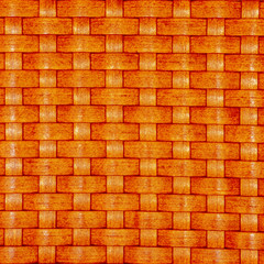Texture of a orange wicker basket weave