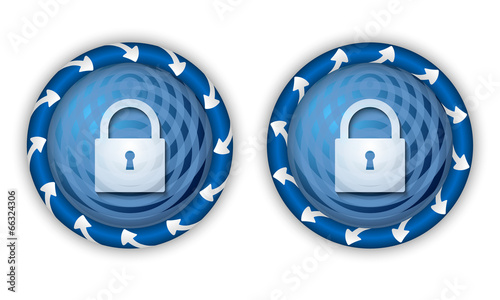 set two icons with arrows and transparent padlock