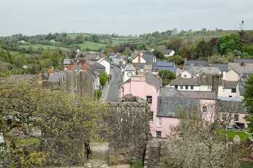 Laugharne town centre from above