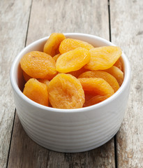 Dry apricot close up in white bowl