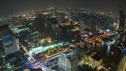 Bangkok Cityscape Time Lapse Fisheye Pan