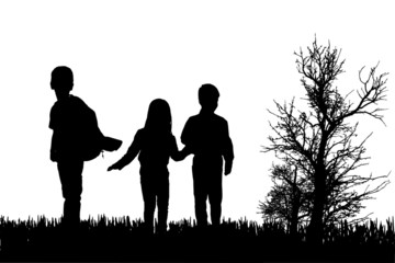 Vector silhouette of children.