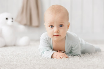 Portrait of a crawling baby