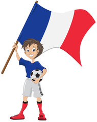 Happy soccer fan holds France flag