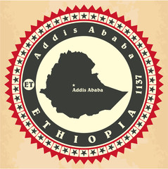 Vintage label-sticker cards of Ethiopia
