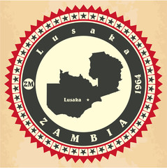 Vintage label-sticker cards of Zambia.
