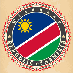 Vintage label cards of  Namibia flag. .