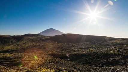 Time lapse video. Teide volcano and sunset. Spain, Canary island
