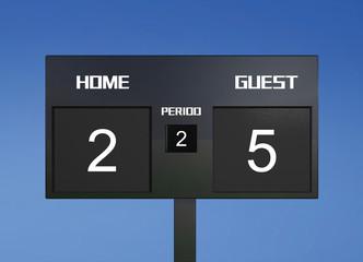soccer scoreboard score 2 & 5