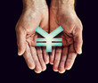 yen icon hands