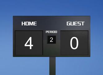 soccer scoreboard score 4 & 0