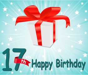 17 year Happy Birthday Card with gift and colorful background