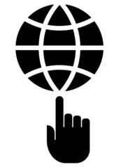 Globe on finger icon
