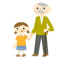 手をつなぐ女の子とおじいちゃん