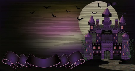 Dark Witch castle banner, vector illustration